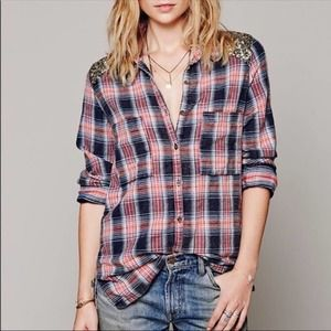 Free People Flannel Sequin Tunic Blouse Plaid